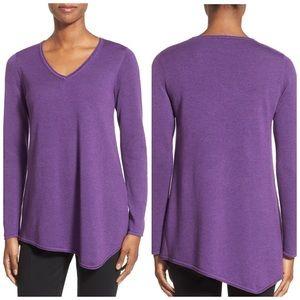 Eileen Fisher VNeck Asymmetrical-Hem Sweater Tunic